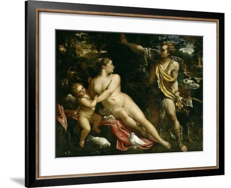 Venus, Adonis and Cupid, Ca. 1590-Annibale Carracci-Framed Art Print