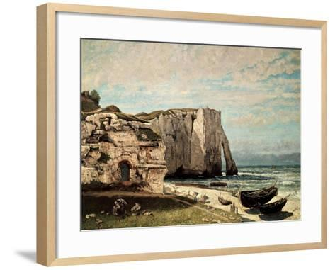 The Cliffs at Etretat after the Storm, 1870-Gustave Courbet-Framed Art Print