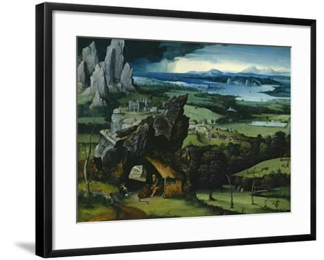 Landscape with Saint Jerome, 1516-1517-Joachim Patenir-Framed Art Print