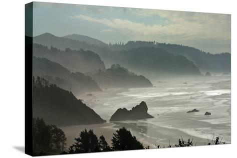 Fog Rolls onto the Rocky, Hilly Coastline-Vickie Lewis-Stretched Canvas Print