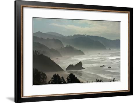 Fog Rolls onto the Rocky, Hilly Coastline-Vickie Lewis-Framed Art Print