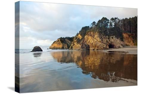 The Wet Sand on a Beach at Oregon's Hug Point-Vickie Lewis-Stretched Canvas Print