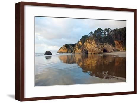 The Wet Sand on a Beach at Oregon's Hug Point-Vickie Lewis-Framed Art Print