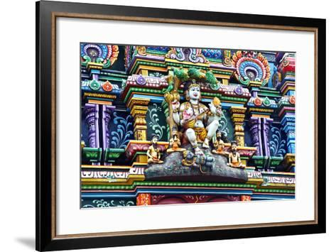 An Intricate Colorful Statue of Shiva at a Hindu Temple-Jason Edwards-Framed Art Print