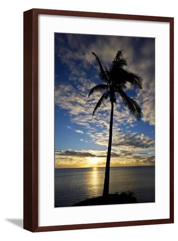 An Idyllic Palm Tree Silhouette Overlooking the Ocean at Sunset-Jason Edwards-Framed Art Print