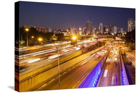 Busy Highway Traffic at Dusk in Sao Paulo, Brazil-Alex Saberi-Stretched Canvas Print