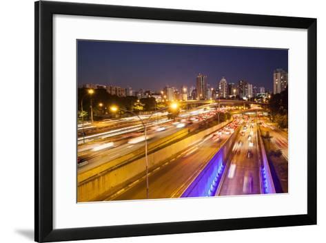 Busy Highway Traffic at Dusk in Sao Paulo, Brazil-Alex Saberi-Framed Art Print