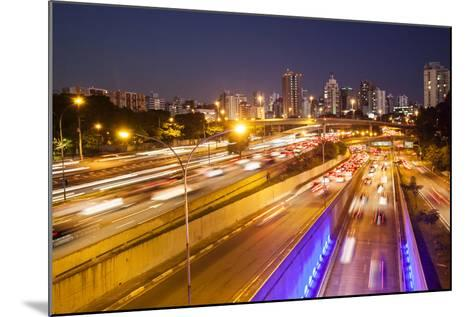 Busy Highway Traffic at Dusk in Sao Paulo, Brazil-Alex Saberi-Mounted Photographic Print