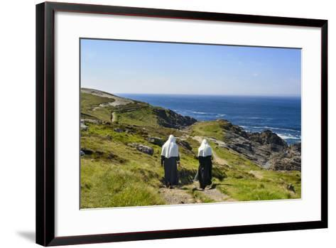 Two Nuns Walking on a Beach in Ireland-Chris Hill-Framed Art Print