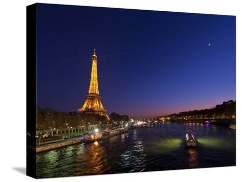 The Moon Meets with Planets Venus and Jupiter over the Eiffel Tower and the Seine River-Babak Tafreshi-Stretched Canvas Print