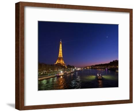 The Moon Meets with Planets Venus and Jupiter over the Eiffel Tower and the Seine River-Babak Tafreshi-Framed Art Print
