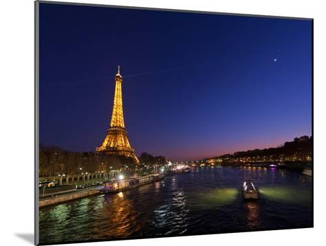 The Moon Meets with Planets Venus and Jupiter over the Eiffel Tower and the Seine River-Babak Tafreshi-Mounted Photographic Print