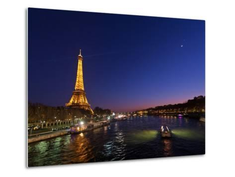 The Moon Meets with Planets Venus and Jupiter over the Eiffel Tower and the Seine River-Babak Tafreshi-Metal Print