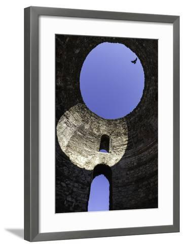 A Solitary Bird Flies Above an Opening in a Dome in Diocletian's Palace in Split-Jonathan Irish-Framed Art Print