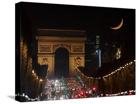 The Setting Crescent Moon at the Arc De Triomphe and Champs-Elysees Avenue-Babak Tafreshi-Stretched Canvas Print