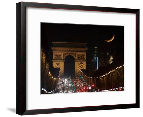 The Setting Crescent Moon at the Arc De Triomphe and Champs-Elysees Avenue-Babak Tafreshi-Framed Art Print