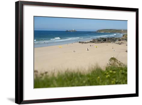 From the Cliffs at Gwithian Looking Towards Godrevy Lighthouse-Alex Treadway-Framed Art Print