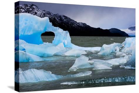 Icebergs Float in Lago Grey in Torres Del Paine National Park-Mattias Klum-Stretched Canvas Print