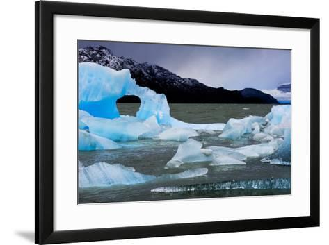 Icebergs Float in Lago Grey in Torres Del Paine National Park-Mattias Klum-Framed Art Print