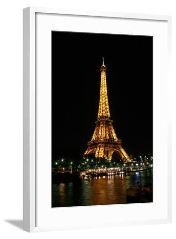 Night View of the Eiffel Tower and Colorful Lights-Babak Tafreshi-Framed Art Print