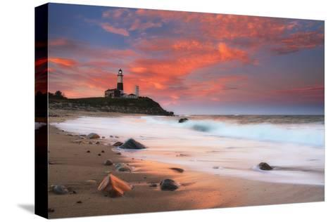 Sunset and Surf Surging onto the Beach at the Montauk Point Lighthouse-Robbie George-Stretched Canvas Print