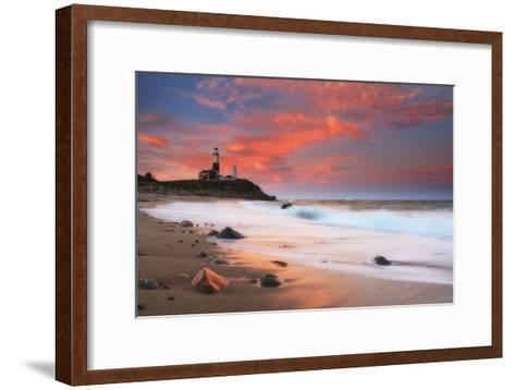 Sunset and Surf Surging onto the Beach at the Montauk Point Lighthouse-Robbie George-Framed Art Print