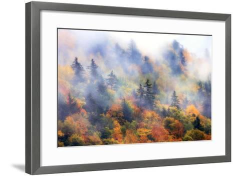 Fog over a Forested Hillside in New England Fall Colors-Robbie George-Framed Art Print