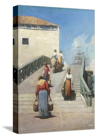 Women on a Bridge in Venice-Vincenzo Cabianca-Stretched Canvas Print
