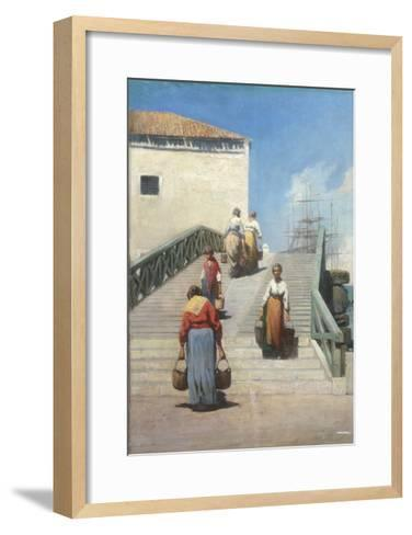Women on a Bridge in Venice-Vincenzo Cabianca-Framed Art Print