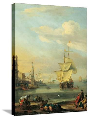 Mediterranean Harbor-Abraham Storck-Stretched Canvas Print