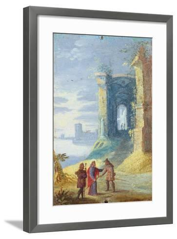 Lake Landscape with Christ Between the Two Disciples of Emmaus--Framed Art Print
