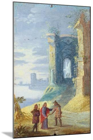 Lake Landscape with Christ Between the Two Disciples of Emmaus--Mounted Art Print