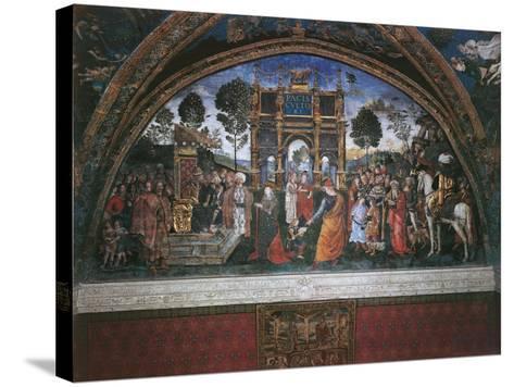 Dispute of St. Catherine (With Emperor Maximian)-Bernardino di Betto Pinturicchio-Stretched Canvas Print