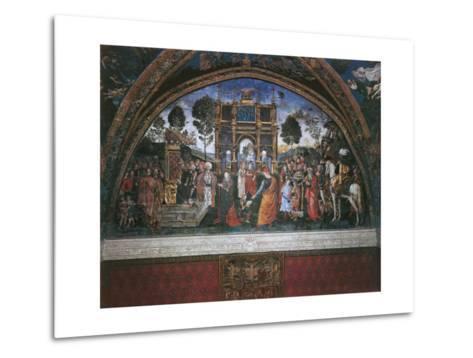 Dispute of St. Catherine (With Emperor Maximian)-Bernardino di Betto Pinturicchio-Metal Print