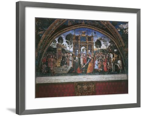Dispute of St. Catherine (With Emperor Maximian)-Bernardino di Betto Pinturicchio-Framed Art Print