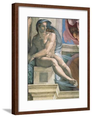 Sistine Chapel Ceiling, Male Nude-Michelangelo Buonarroti-Framed Art Print