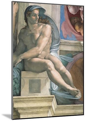 Sistine Chapel Ceiling, Male Nude-Michelangelo Buonarroti-Mounted Art Print