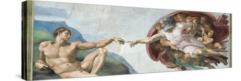 Sistine Chapel Ceiling, God to uches Adam with His Finger-Michelangelo Buonarroti-Stretched Canvas Print