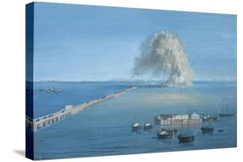 Explosion of a Mine in San Giuliano-Luigi Querena-Stretched Canvas Print