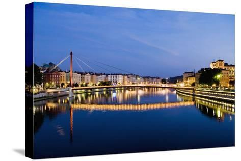 Palais Du Justice Footbridge Reflecting on the Saone-Massimo Borchi-Stretched Canvas Print