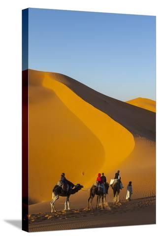 Tourists on Camel Safari, Sahara Desert, Merzouga, Morocco, North Africa, Africa-Doug Pearson-Stretched Canvas Print