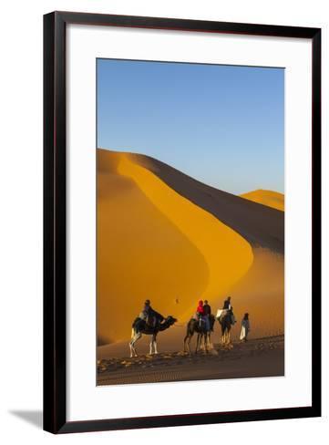 Tourists on Camel Safari, Sahara Desert, Merzouga, Morocco, North Africa, Africa-Doug Pearson-Framed Art Print