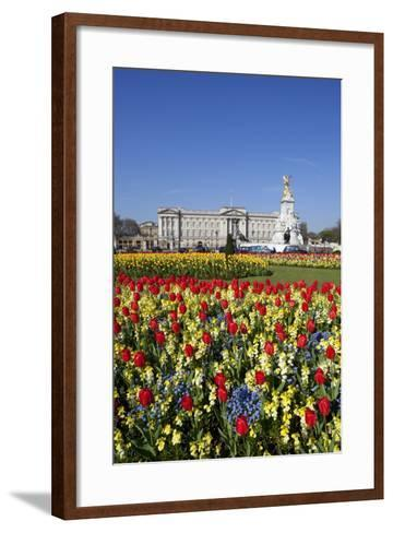Buckingham Palace and Queen Victoria Monument with Tulips, London, England, United Kingdom, Europe-Stuart Black-Framed Art Print