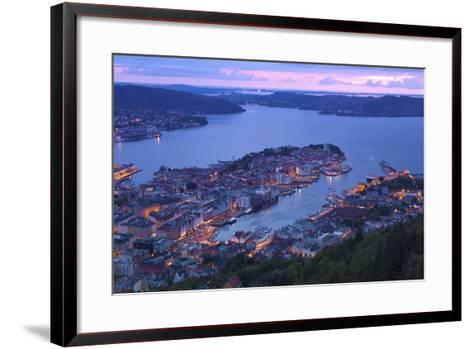 Elevated View over Central Bergen at Dusk, Bergen, Hordaland, Norway, Scandinavia, Europe-Doug Pearson-Framed Art Print