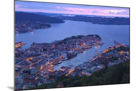 Elevated View over Central Bergen at Dusk, Bergen, Hordaland, Norway, Scandinavia, Europe-Doug Pearson-Mounted Photographic Print