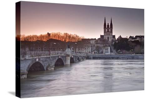 The Maine River Flowing Through the City of Angers-Julian Elliott-Stretched Canvas Print