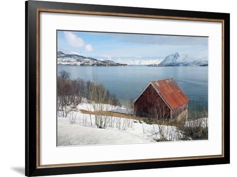 Boathouse on the Island of Kvaloya (Whale Island), Troms, Norway, Scandinavia, Europe-David Lomax-Framed Art Print