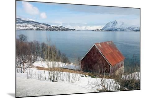 Boathouse on the Island of Kvaloya (Whale Island), Troms, Norway, Scandinavia, Europe-David Lomax-Mounted Photographic Print