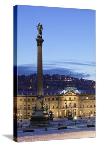 Column at Schlossplatz Square and Neues Schloss Castle-Markus Lange-Stretched Canvas Print