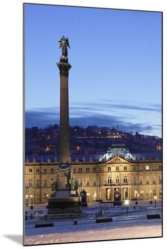 Column at Schlossplatz Square and Neues Schloss Castle-Markus Lange-Mounted Photographic Print